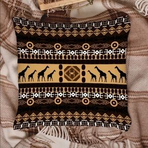 2 -Ethnic Tribal Print Giraffe Throw Pillow Covers